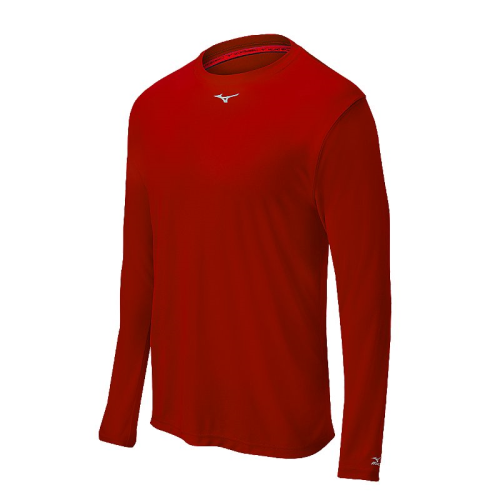 Mizuno Men's Comp Long Sleeve Crew- Red