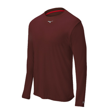Mizuno Men's Comp Long Sleeve Crew- Cardinal