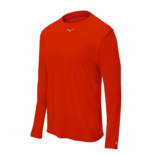 Mizuno Men's Comp Long Sleeve Crew- Orange