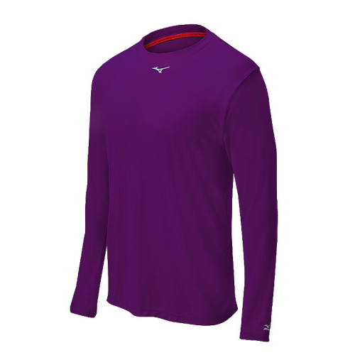 Mizuno Men's Comp Long Sleeve Crew- Purple