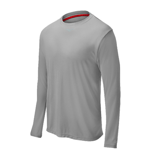 Mizuno Men's Comp Long Sleeve Crew- Grey
