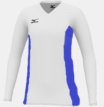 Mizuno Women's Custom LS Jersey- White/Royal