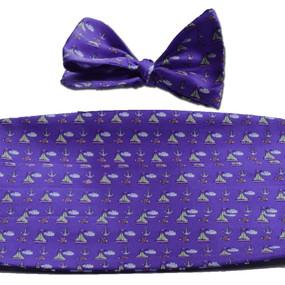 Sailboats & Fish Cummerbund & Bow Tie Set - Purple