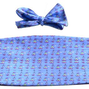 Sailboats & Fish Cummerbund & Bow Tie Set - Light Blue