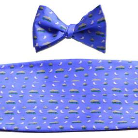 The Tiki Lounge Cummerbund & Bow Tie Set - Blue