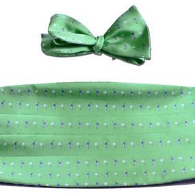 Tee Time Cummerbund & Bow Tie Set - Green