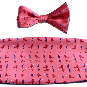 Sea to Shining Sea Cummerbund & Bow Tie Set - Washed Red