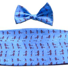 Sea to Shining Sea Cummerbund & Bow Tie Set - Light Blue