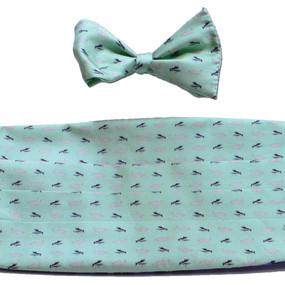 Fly Fishing Cummerbund & Bow Tie Set - Light Green