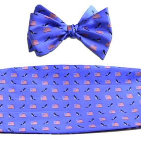 American Flags & Eagles Cummerbund & Bow Tie Set - Blue