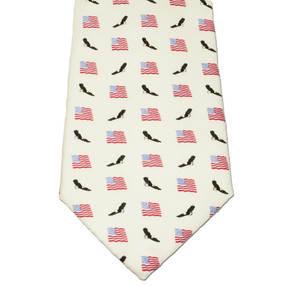 American Flags & Eagles Tie - White