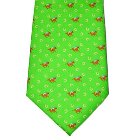 Horses & Horseshoes Tie - Green