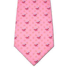 Horses & Horseshoes Tie - Salmon