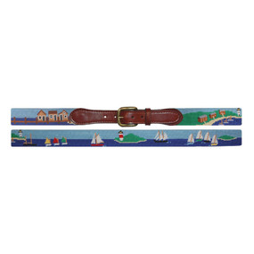 Smathers and Branson Seascape Needlepoint Belt - Scene