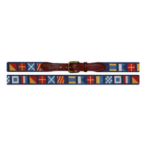Smathers and Branson Dark n' Stormy Nautical Flags Needlepoint Belt - Navy