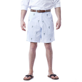 Cisco Embroidered Seersucker Shorts with Martini - Blue