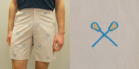 Cisco Embroidered Shorts with Lacrosse Sticks - Stone