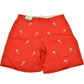 Cisco Embroidered Shorts with Palm Trees - Red