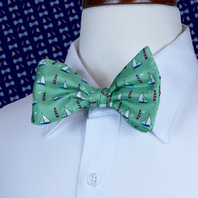 Sailboats & Lighthouses Bow Tie - Green