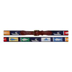 Smathers and Branson Sportfishing Needlepoint Belt - Navy