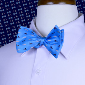 Fly Fishing Bow Tie - Light Blue