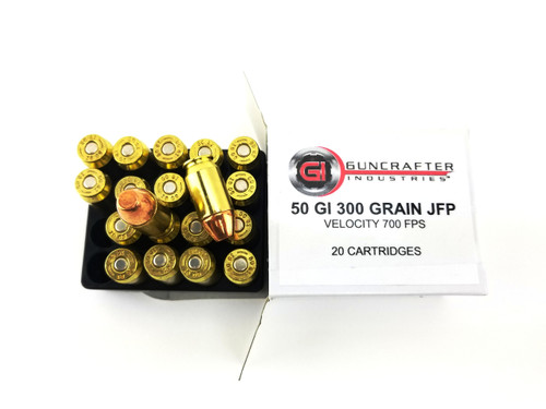 .50GI 300gr Jacketed Flat Point Ammuntion, made in Huntsville, Arkansas