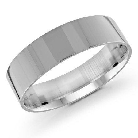 Mens 6 MM flat comfort fit white gold band - #J-105-620G