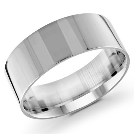 Mens 9 MM flat comfort fit white gold band - #J-105-920G