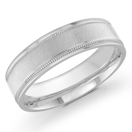 Mens 6 MM white gold satin finish band with milgrain detailing - #J-110-6WG