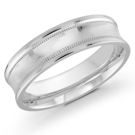 Mens 6 MM white gold high polish concave band with milgrain detailing - #J-119-620G