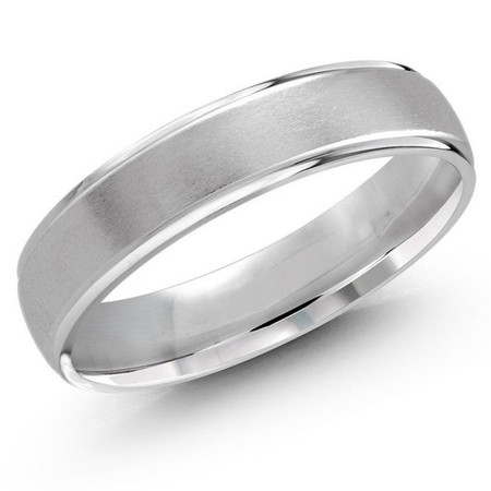 Mens 5 MM white gold satin finish dome band - #J-127-5WL