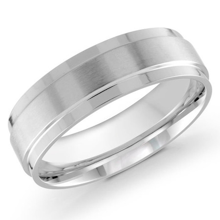 Mens 7 MM white gold satin finish dome band - #J-127-7WG