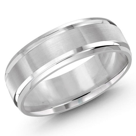Mens 7 MM white gold satin center finish and high polish edged band - #J-136-7WG