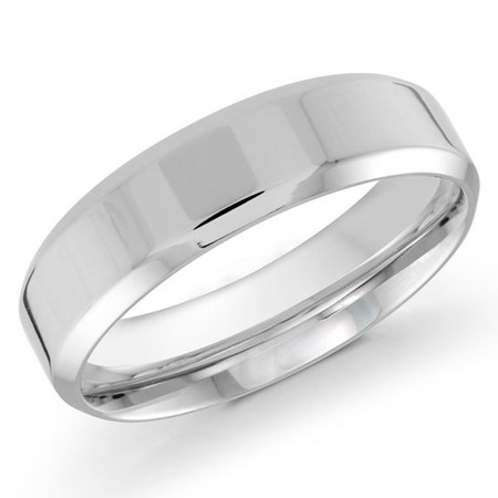 Mens 6 MM white gold satin center finish band - #J-301-6WG