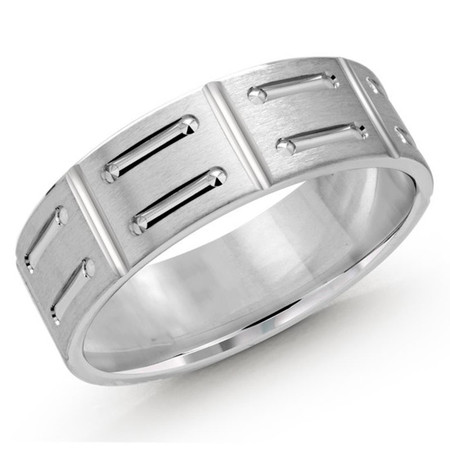 Mens 7 MM all white gold satin finish band with shoe lace motif center - #JM-1088-7WG