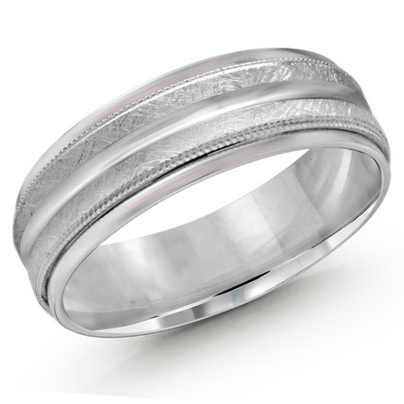 Mens 7 MM all white gold band with dual sectioned hammered center and milgrain detailing - #JM-1091-7WG