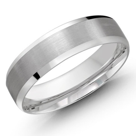 Mens 6 MM all white gold satin finish center band with high polish beveled edges - #JM-1105-6WG