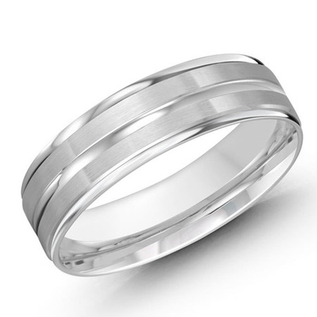 Mens 6 MMall white gold satin finish band with a high polish  center strip - #JM-1109-6WG