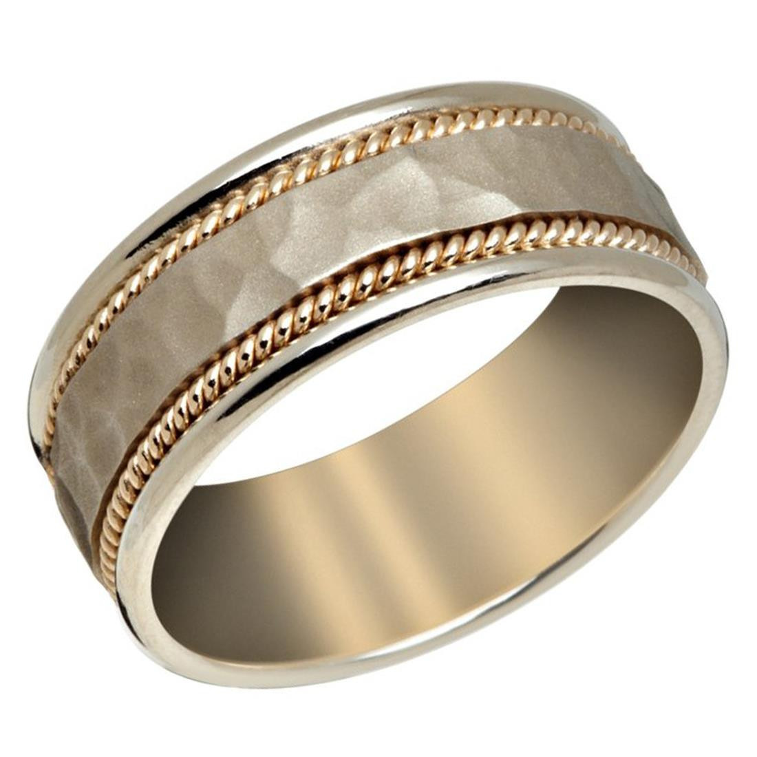 Mens 8 Mm White Gold Band With Satin Hammered Finish Center And Yellow Milgrain Detailing P 038