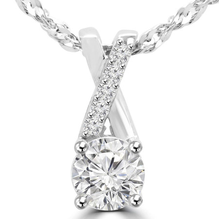 Round Cut Diamond Multi-Stone Infinity 4-Prong Pendant Necklace With Chain in White Gold - #MAJESTY-P2-W