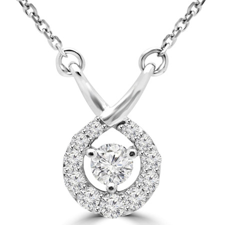 Round Cut Diamond Multi-Stone Infinity Pendant Necklace With Chain in White Gold - #MAJESTY-P7-W