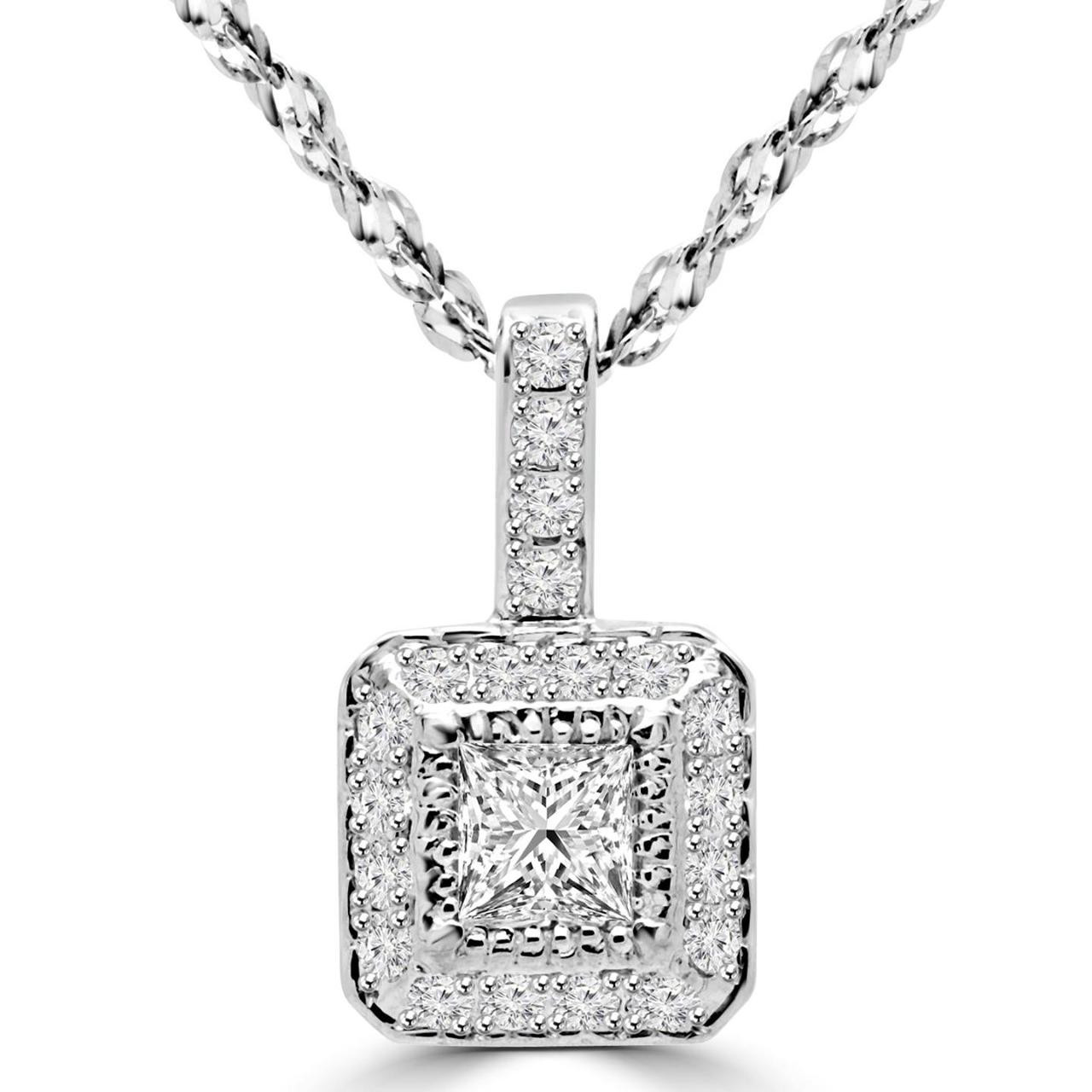 double mirabess pendent bail gold pendant princess products white solitaire diamond in cut
