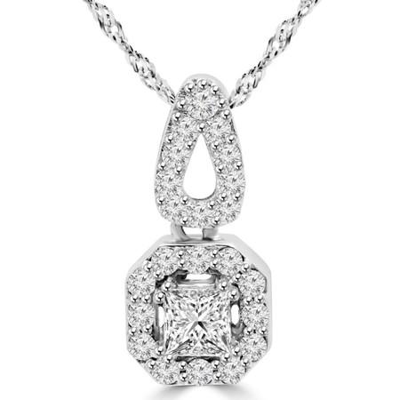Princess Cut Diamond Multi-Stone Halo Pendant Necklace with Round Accents and Chain in White Gold - #MD-P-P10-PR-W
