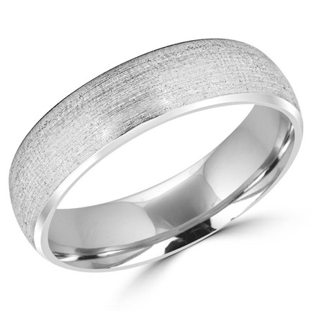 6.0 MM Brushed Mens Comfort Fit Wedding Band Ring in White Gold - #JM249-620G-W