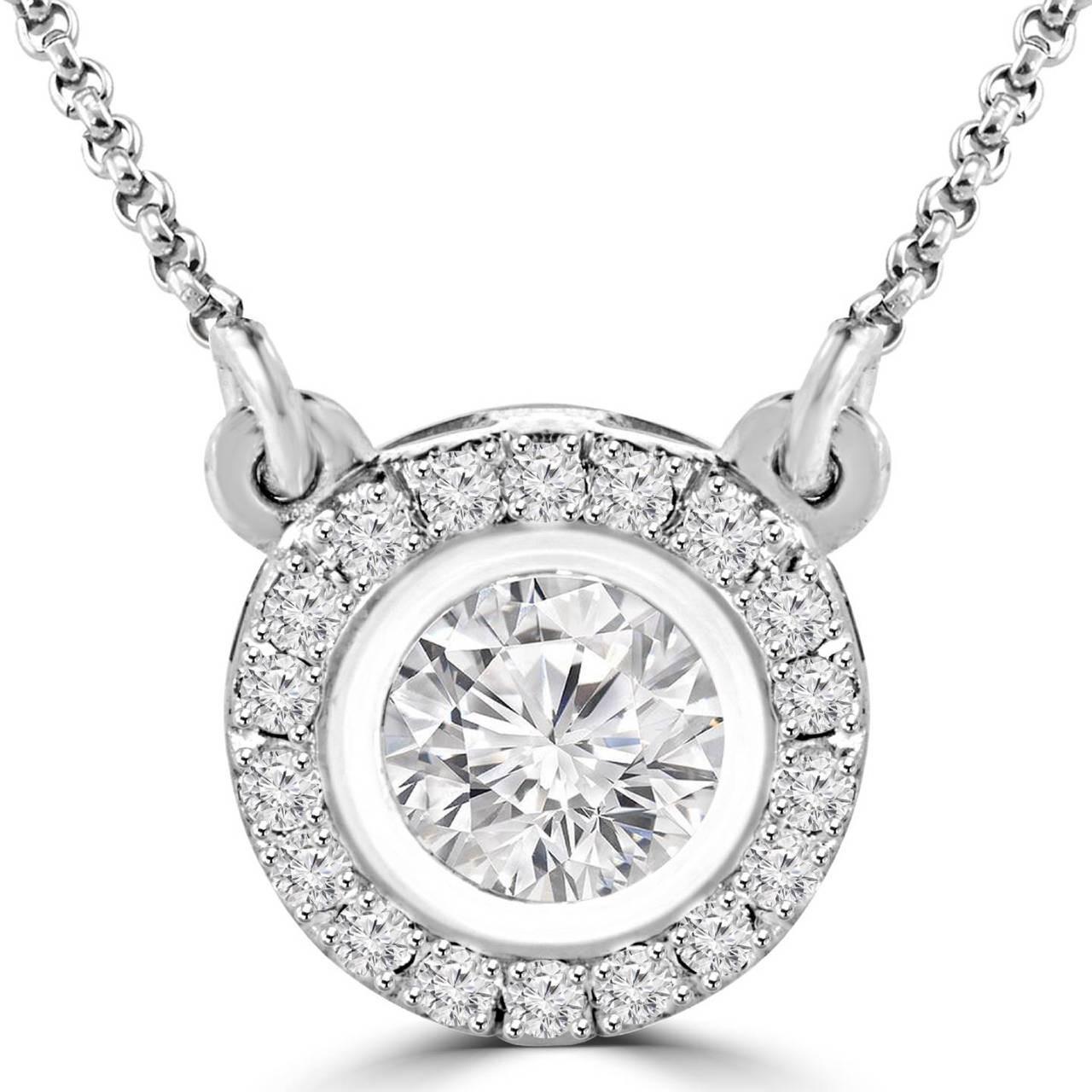 Bezel set diamond necklace bijoux majesty round diamond multi stone bezel set halo pendant necklace with round diamond accents chain in white gold lisa w aloadofball Choice Image