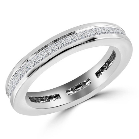 Princess Cut Diamond Full-Eternity Wedding Band Ring in White Gold - #HR10085-W