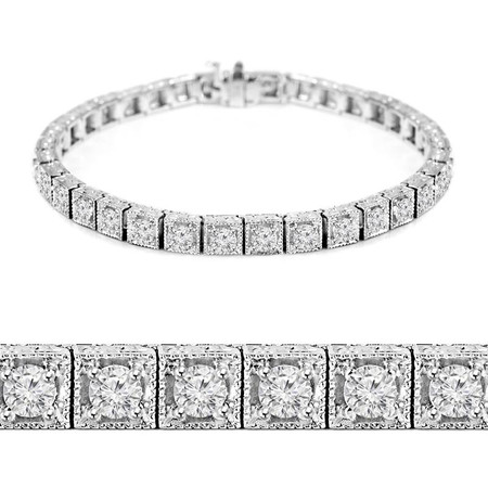 Round Cut Diamond Multi-Stone 4-Prong Vintage Fashion Tennis Bracelet in White Gold - #MIR-B-1859-W