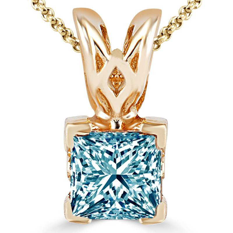 Blue diamond pendant necklace bijoux majesty princess cut blue diamond solitaire v prong pendant necklace with chain in yellow gold psf y blue audiocablefo