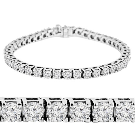 Round Cut Diamond 4-Prong Classic Tennis Bracelet in White Gold - #B424-W