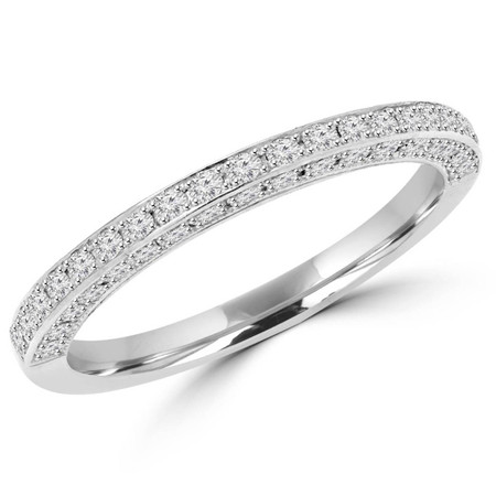 Round Cut Diamond Semi-Eternity 4-Prong Wedding Band Ring in White Gold - #MD-R-MARINA-W
